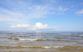 Picture sea, wave, summer, water, clouds, reflection, horizon, Riga, Latvia, Baltika, Jurmala