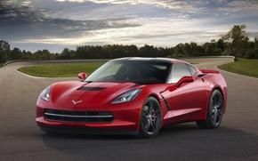 Picture red, coupe, Corvette, Chevrolet, supercar, sports car, Coupe, Corvette, Stingray, Z51