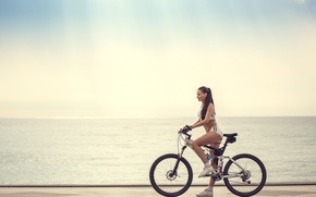 Picture girl, bike, sport, profile