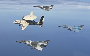 "Picture flight, fighters, the plane, bombers, deck, Hawkeye, far, detection, radar, E-2C, ""lion"", Kfir, Kfir"