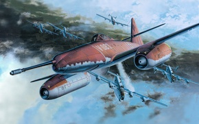 Picture figure, battle, art, Me - 262A - 1a - U -4