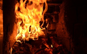 Picture red, fire, flame, fireplace
