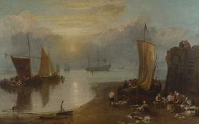 Picture sea, people, shore, boat, ship, picture, sail, seascape, William Turner, Sun Rising through Vapour