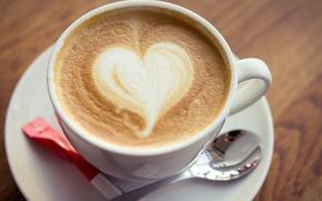 Picture foam, heart, coffee, spoon, Cup, sugar, cappuccino