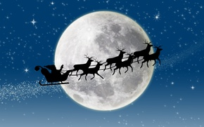 Picture stars, snow, New year, new year, deer, snow, stars, merry christmas, full moon, full moon, ...