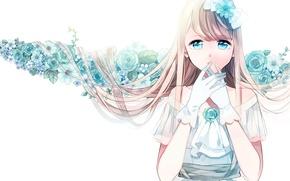 Wallpaper flowers, Girl, white background, gloves, blue eyes, white dress, long hair