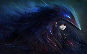 Picture eyes, bird, beak, girl, red, tail, Queen for Myself Fatheng, Nolia