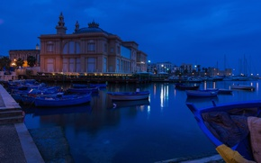 Picture night, boats, pier, Italy, theatre, Margarita, Bari