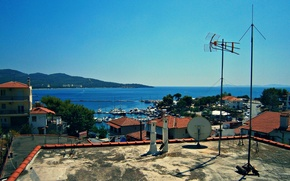 Picture Home, Sea, The city, Greece, pier, Roof, Architecture