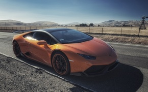 Picture lamborghini, road, field, orange, huracan