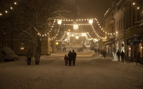 Picture winter, snow, night, street, new year, Christmas, garland