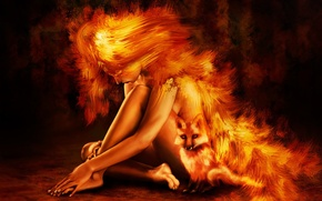 Wallpaper fire, figure, 153, Fox