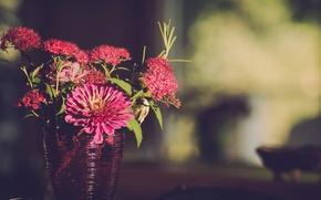 Picture light, flowers, vase