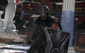Picture rendering, background, sword, armor, Rome, helmet, shield, arena, Gladiator