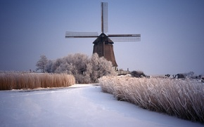 Picture ice, winter, snow, river, mill, Landscapes