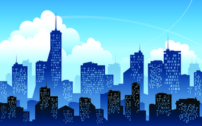 Picture clouds, the city, home, silhouette