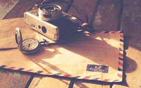 Picture camera, letter, pocket watch