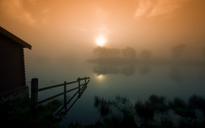 Picture the sun, sunset, fog, lake, fence, the barn, Scotland, Scotland