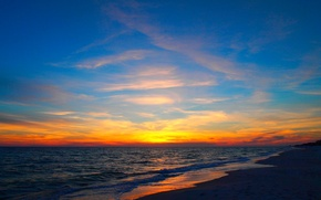 Picture sea, wave, the sky, clouds, sunset, nature, shore