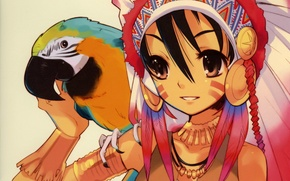 Picture feathers, parrot, girl, art, headdress, noizi ito