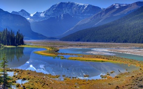 Picture forest, the sky, trees, mountains, lake, reflection, river, spring, Canada, canada, alberta, banff national park