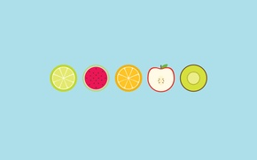 Picture circles, Apple, orange, watermelon, kiwi, lime, fruit