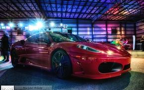 Picture light, tuning, garage, excerpt, Ferrari, hdr, aircraft, hangar, before, Ferrari, red, red, f430, tuning, Scuderia, …