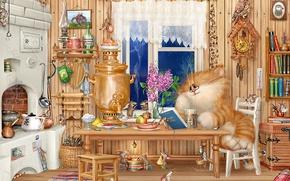 Picture room, things, figure, Koshak, village, Alex Dolotov, mouse, samovar