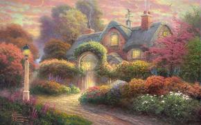 Picture flowers, garden, lantern, painting, cottage, flowers, Thomas Kinkade, painting, Thomas Kinkade, cottage, weathervane, Rosebud Cottage