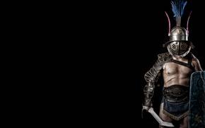 Picture armor, helmet, shield, Gladiator, Trácio, The Thracian