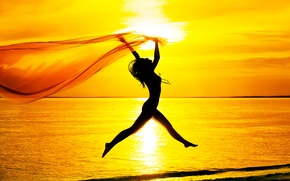Picture sea, beach, the sky, girl, sunset, mood, jump, silhouette