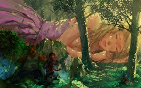 Picture forest, girl, trees, sleep, beauty, tale, blonde, sleeping