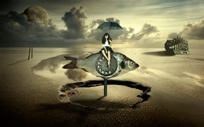 Picture girl, fish, umbrella, surrealism