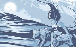 Wallpaper girl, blue, wolf, Vector
