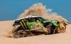 Picture Sand, Desert, Green, Mini Cooper, Rally, Dakar, Rally, MINI, Mini Cooper, X-raid, Competition
