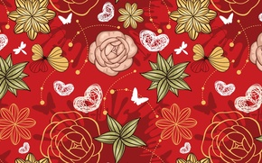Picture butterfly, flowers, Wallpaper, figure, contour, hearts, texture, ornament, red background
