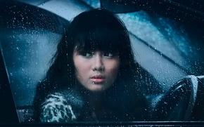 Picture sadness, girl, drops, rain, window