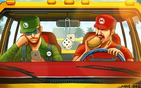 Picture car, brothers, Mario, hamburger, GTA, iPhone, Luigi