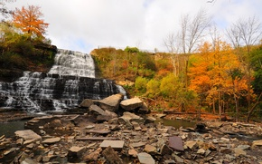Picture autumn, the sky, trees, river, stones, waterfall