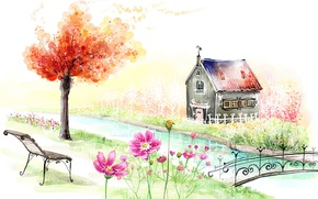 Wallpaper landscape, flowers, bench, bridge, house, river, tree, figure