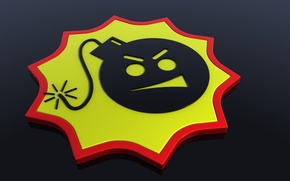 Picture bomb, wick, emblem, grin, explosives, cool family, serious sam