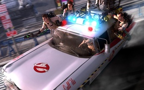 Picture hunters, ghostbusters, video game, ghosts, ecto-1