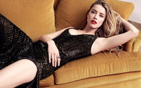 Picture makeup, dress, actress, blonde, photographer, lies, journal, on the couch, photoshoot, Amber Heard, Amber Heard, …