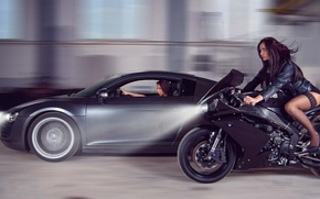 Picture auto, Audi, Girls, motorcycle, girls brunettes