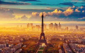 Picture the sky, France, Paris, clouds, Eiffel tower, autumn, the city