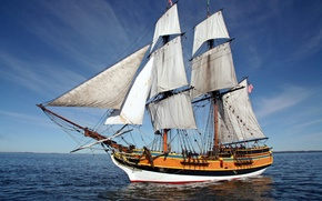 Picture sea, ship, sailboat, sails