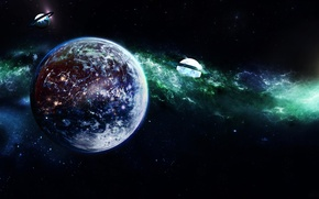 Picture light, nebula, the universe, star, planet, satellite, ring, galaxy