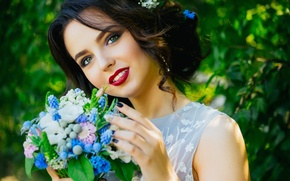 Picture greens, girl, flowers, face, bouquet, makeup, garden, brunette, hairstyle, beautiful, bokeh