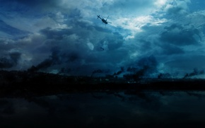 Wallpaper the sky, smoke, Helicopter