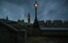 Wallpaper river, promenade, lights, light bulb, night, tower, Big Ben, Thames, lights, London, England, home, watch, ...